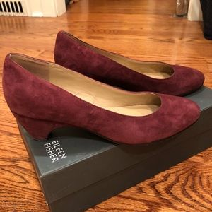 Eileen Fisher Burgundy Suede Pump, Size 8.5